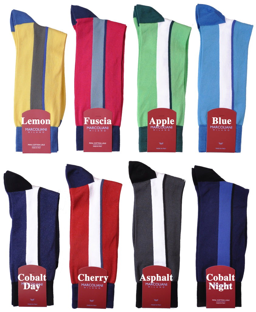 Pima Cotton Mid-Calf Spinnaker Vertical Stripe Sock