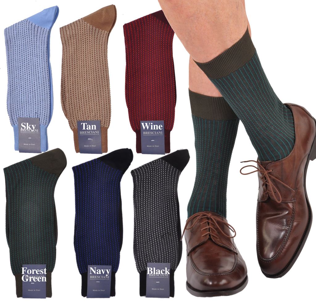 Park Avenue Herringbone Mid-Calf Cotton Socks