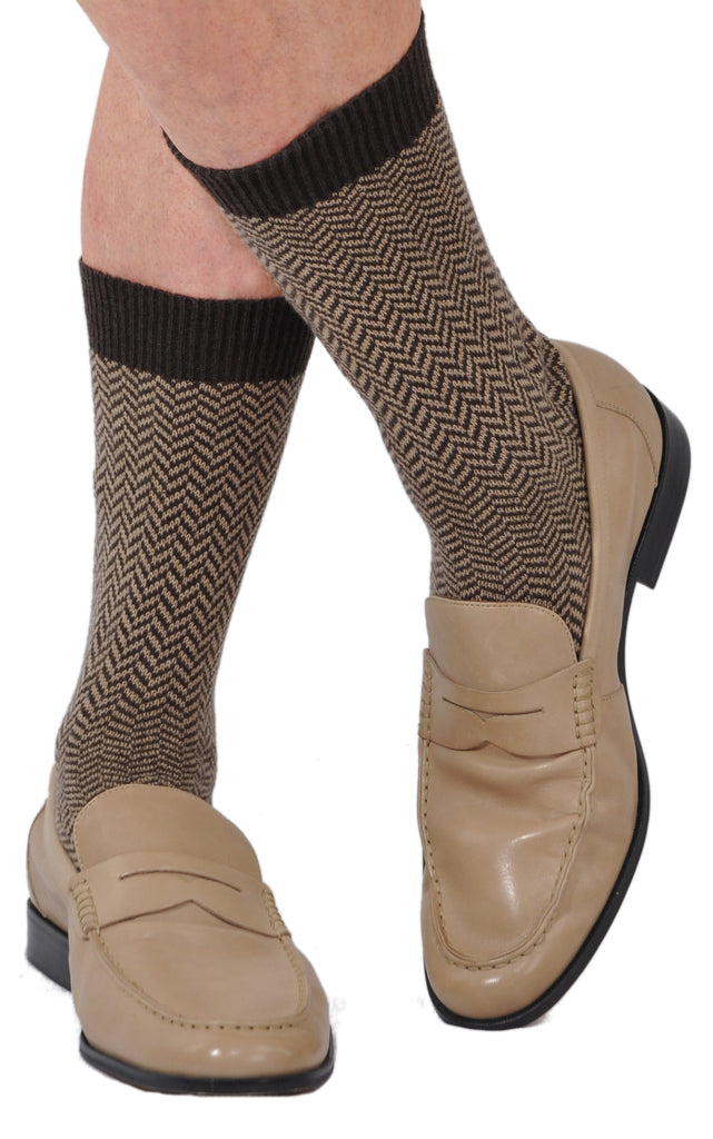 A World's Finest Selection: Bresciani Pure Cashmere Herringbone Mid-Calf Socks