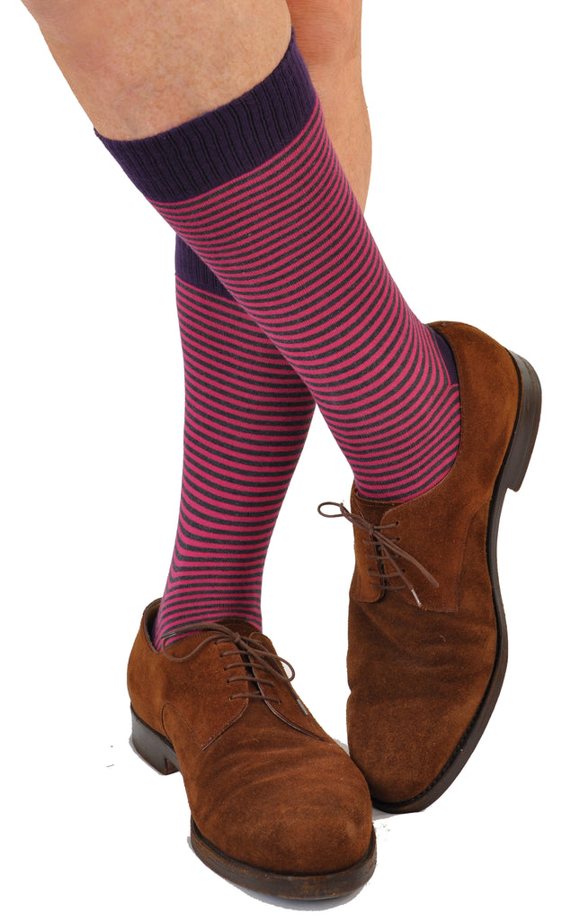 ExtraFine Pima Cotton Mid-Calf Palio Horizontal Candy Stripe Sock