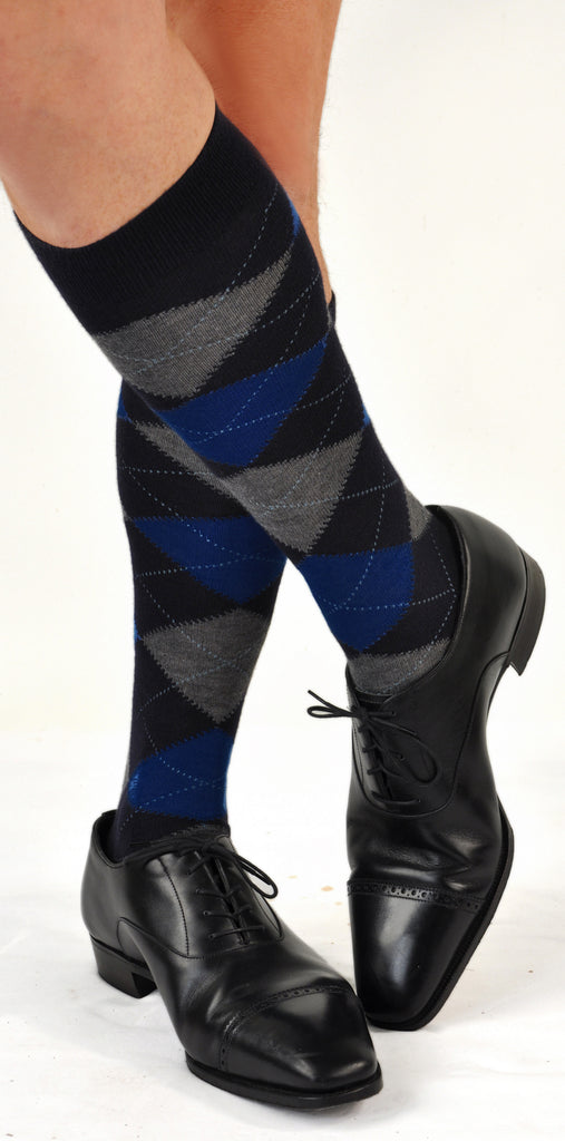RARE LIMITED EDITION Over-the-Calf Cashmere & Silk Sophisticated Argyle Socks