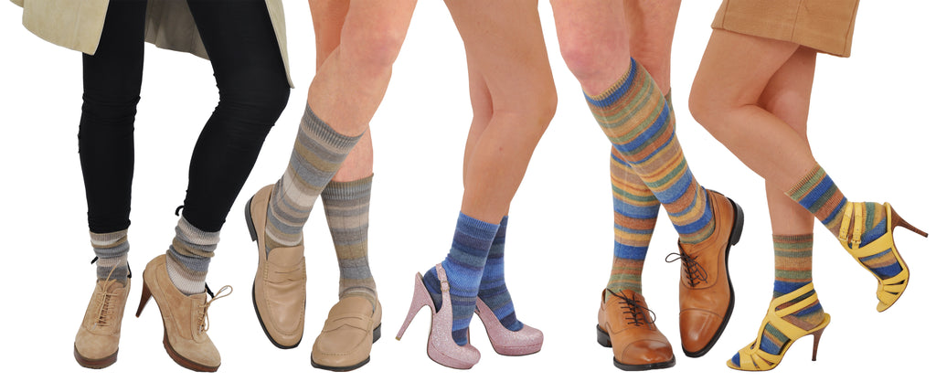 Limited Edition: Bresciani Alpaca & Merino Trouser Length Women's Variegated Nuance Stripe Socks