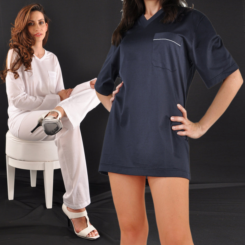 Exclusive Ultrafine Italian Filo di Scozia Cotton Shorty Pajamas