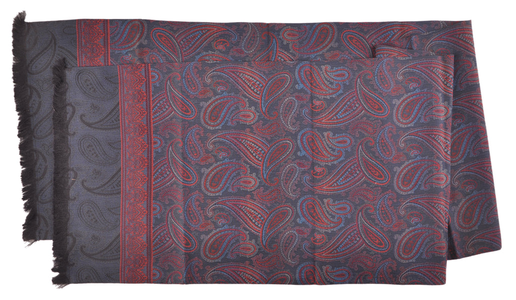 "SAMPLE-Only One Available: Butter-Soft Italian Silk Double-Sided 13"" x 62"" Paisley Scarf Navy with Wine"