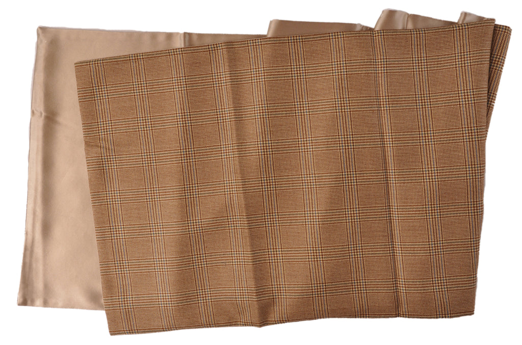 "SAMPLE-Only One Available: Italian Cashmere/Silk backed with Tan Silk Double Sided 14"" x 72"" Plaid Reversible Scarf"