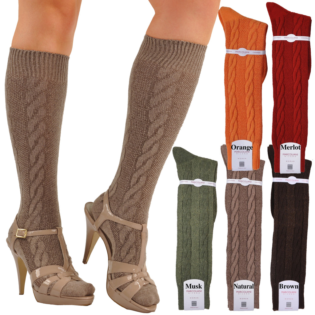 Knee-High Cashmere Cable Knit Socks