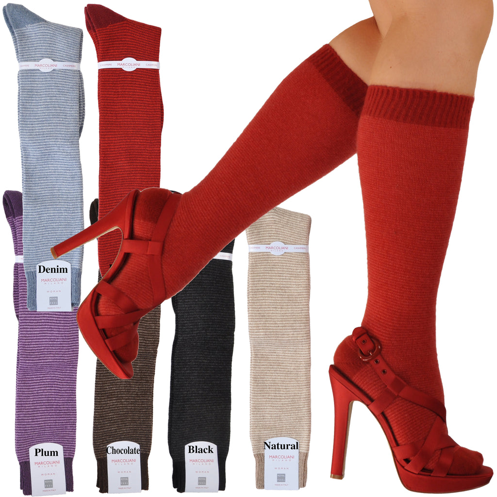 Microstripe Cashmere Knee High Socks