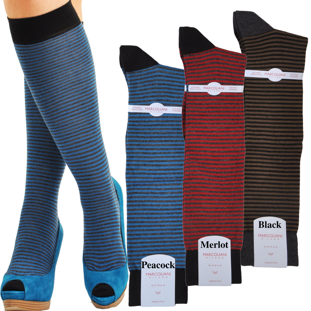 Extra Fine Merino Knee High Horizontal Candy Stripe Socks