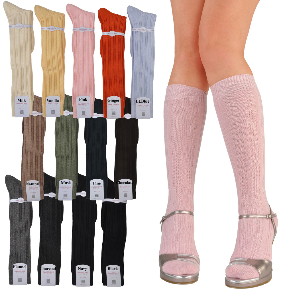 Women's Fashion Rib Cashmere Knee High Socks