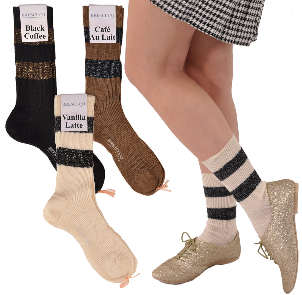 Jazzy Java Glitter Bands Women's Merino Ankle Socks