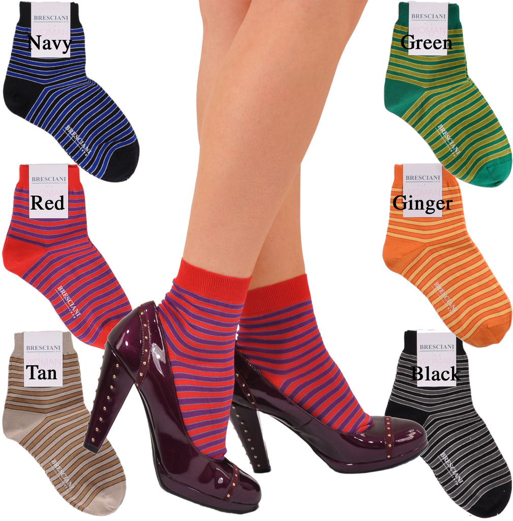 Eleganzia di Milano Horizontal Stripe Cotton Shorty Socks