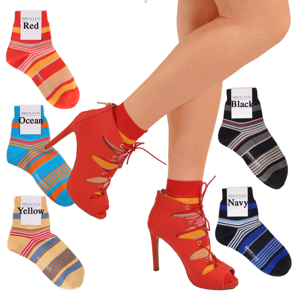 Lake Como Beach Horizontal Multi-Stripe Shorty/Trainer Socks