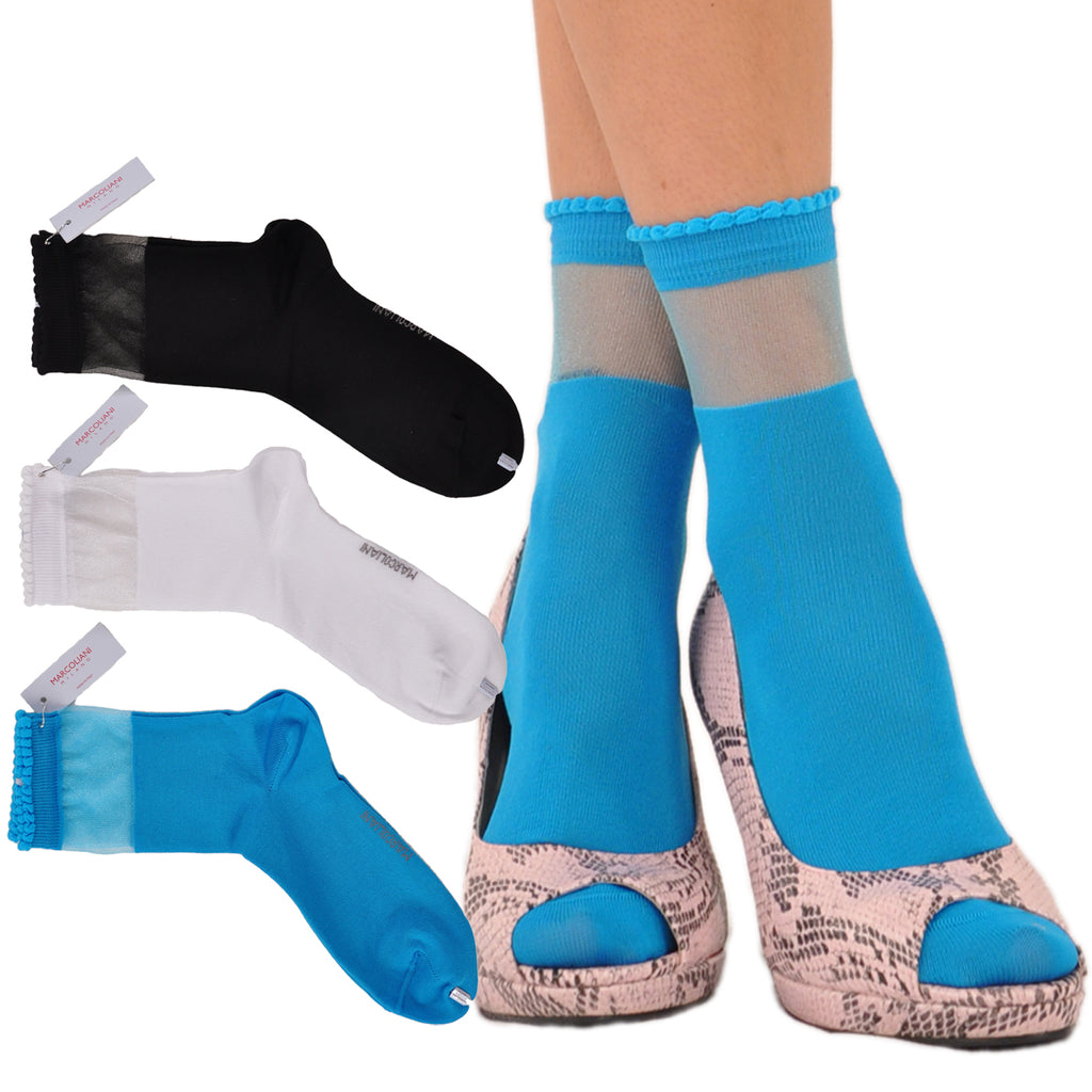 "New Fashion Essential ""Shopping"" Sheer Top Band Socks"