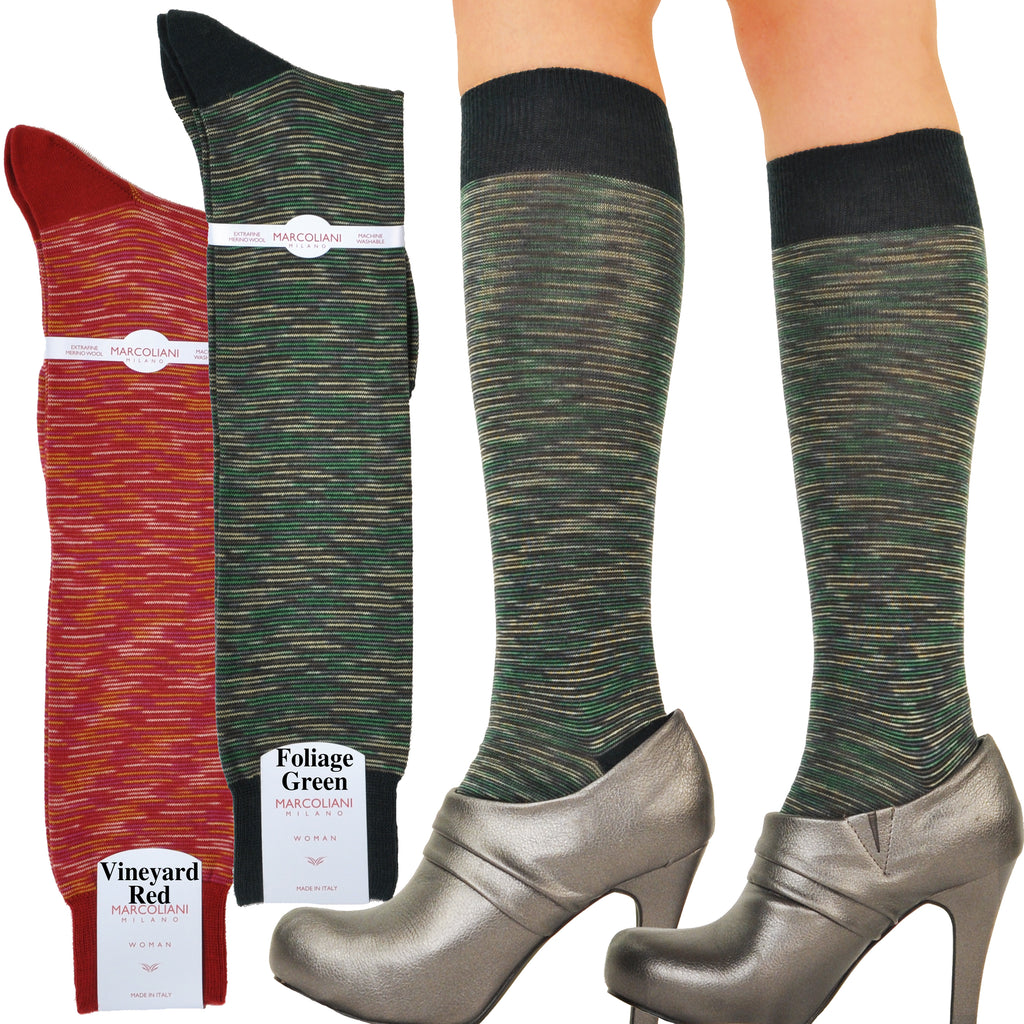 Merino-Cotton Autumn Mixage Knee-High Socks