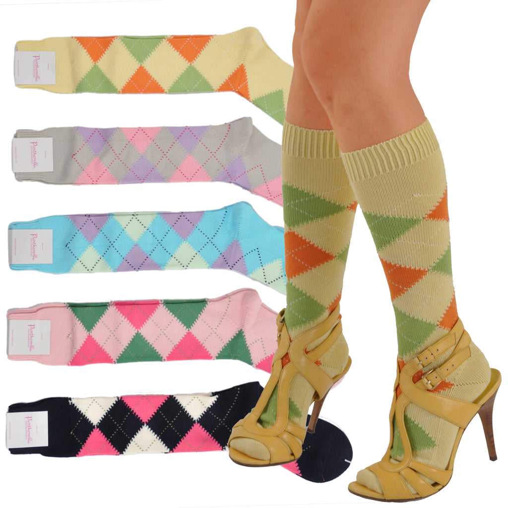 Pantherella Soft Cotton Knee-High Argyle Socks