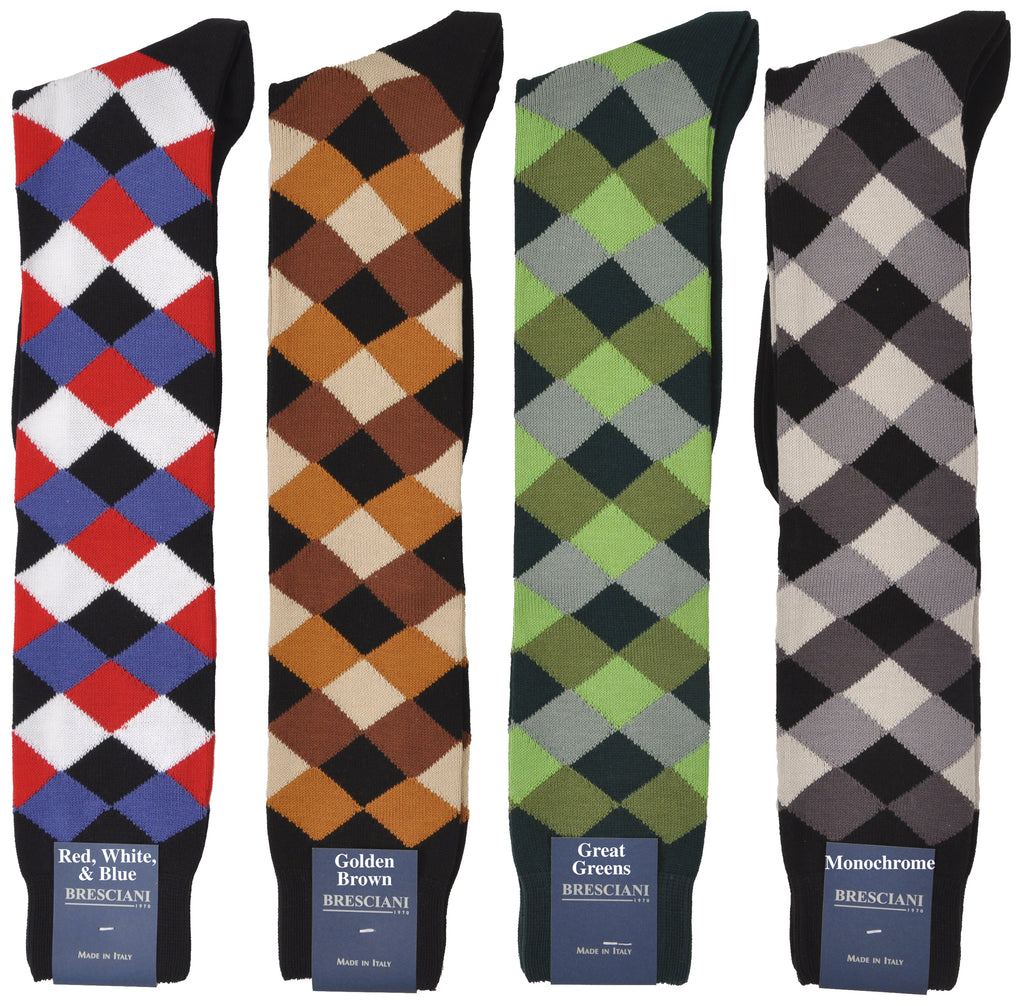 Soft Plush Cotton Sized Fun Harlequin Knee-Highs - Casual Chic