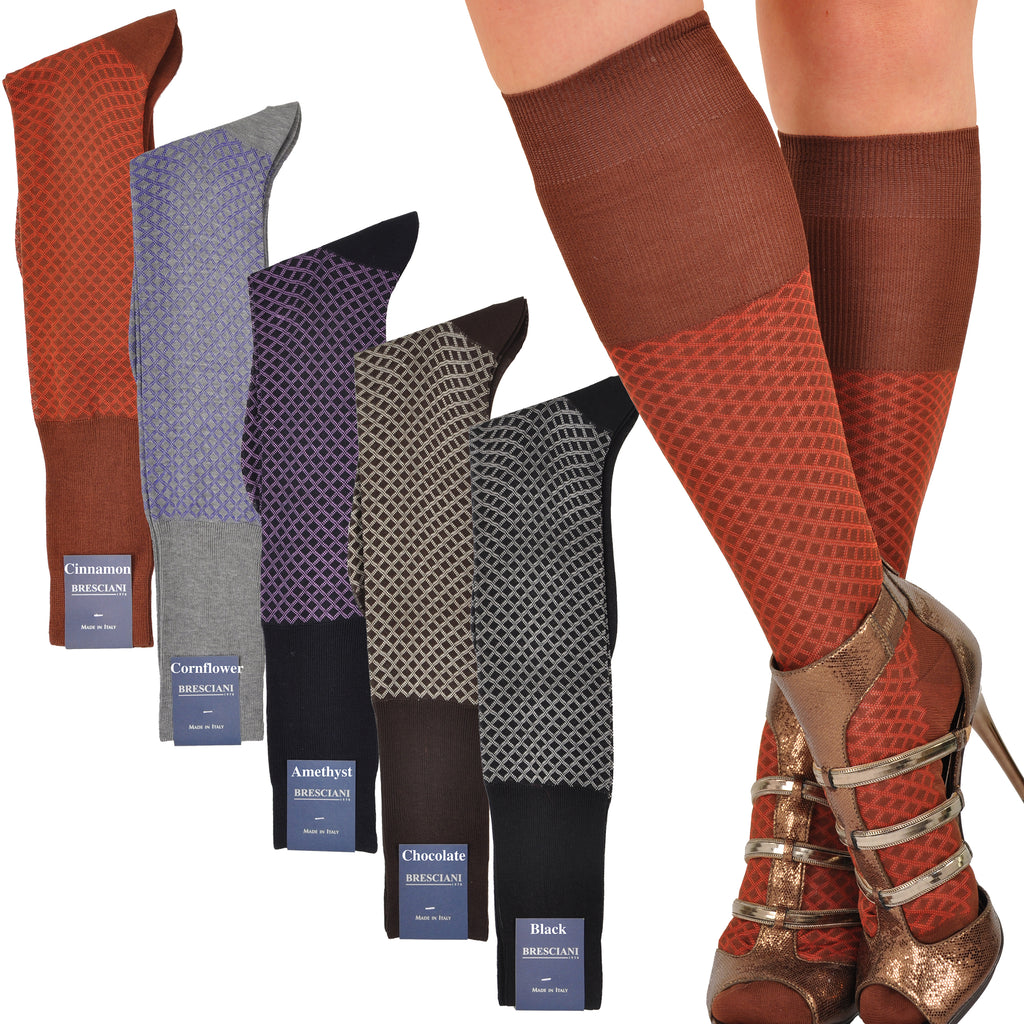 Sensuous Cotton & Silk Semi-Sheer Diamond Fishnet-style Retro Knee-Highs