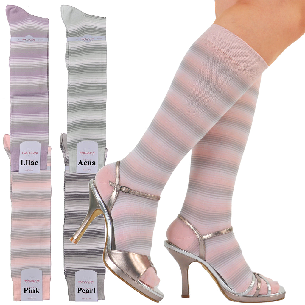SuperFine Cotton Acquarelle Fashion Stripe Knee-Highs