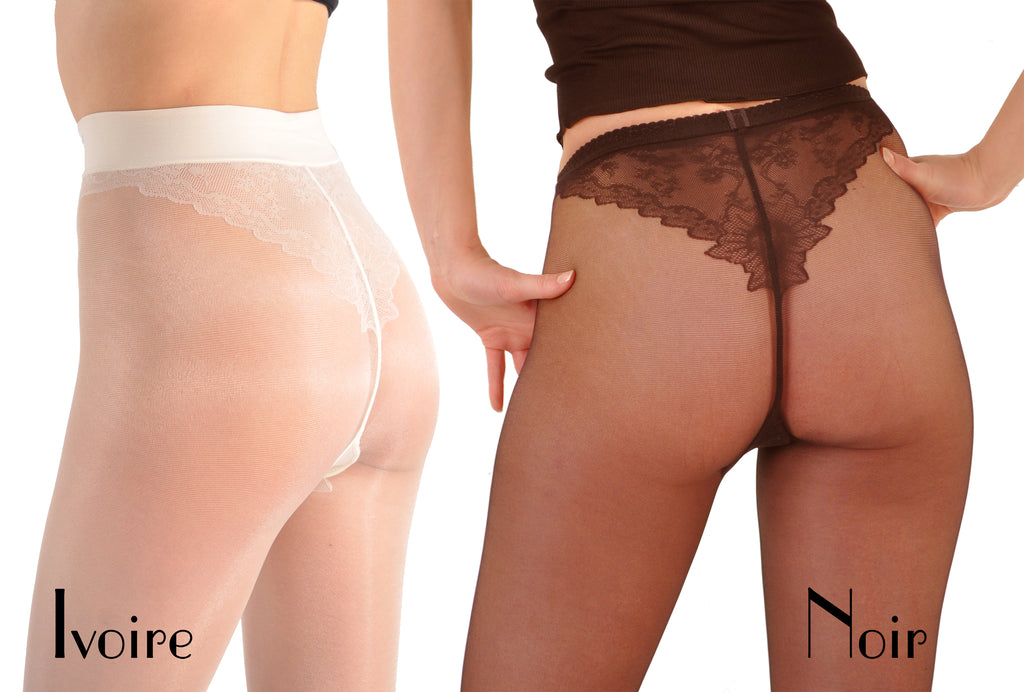 Desir - Semi-Sheer French Pantyhose Tights with Faux Panty