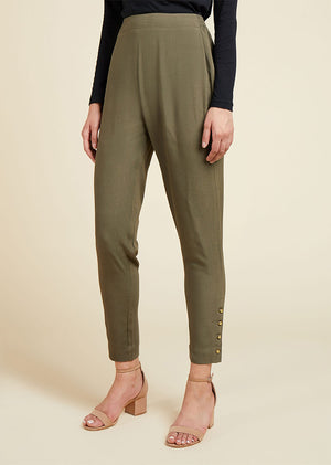Gold Button Trouser Olive