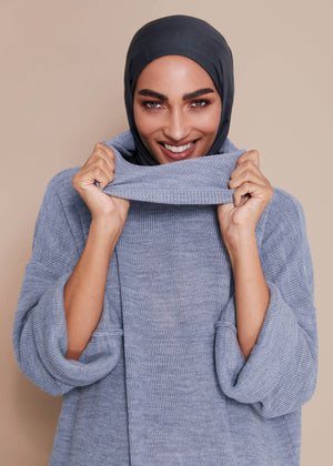 Knitted Cowl Maxi Grey