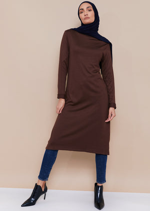 Turtle Neck Midi Brown