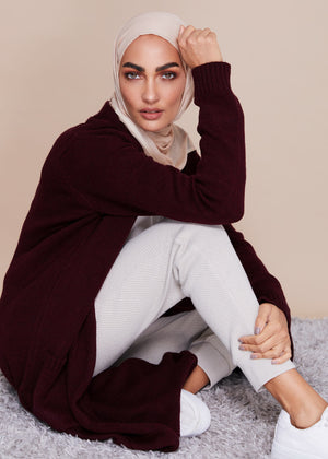 Cozy Knit Coatigan Plum