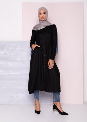 Asymmetric Shirt Dress Black Aab