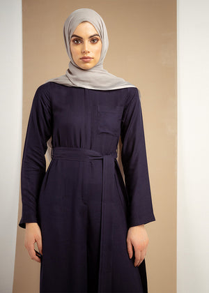 Belted Navy Jumpsuit