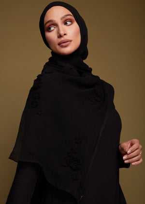 Black Rose Chiffon Silk Hijab by Aab
