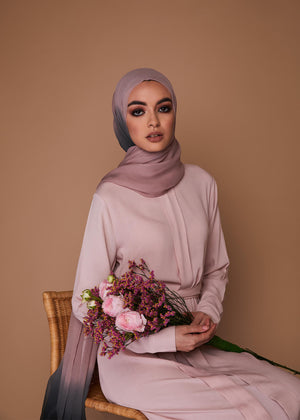 Box Pleat Abaya Pink