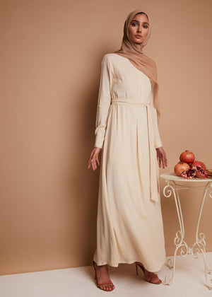 Box Pleat Abaya in Vanilla by Aab