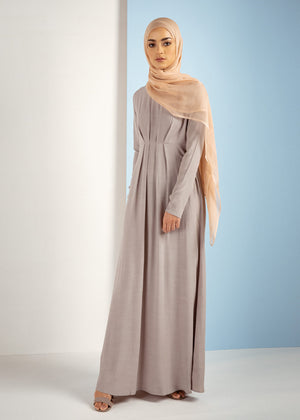 Box Pleat Abaya Grey Aab