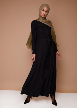 Button Down Maxi in Black by Aab