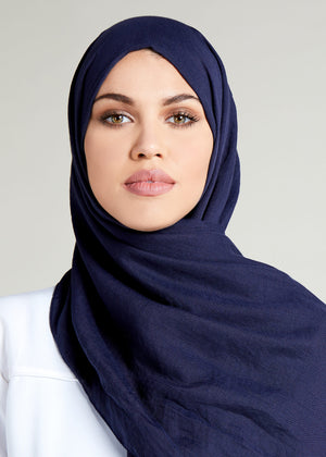 Navy Cotton Rich Hijab