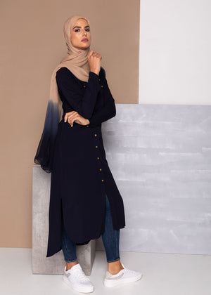 Crest Button Midi Navy Aab