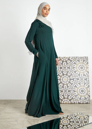 Crochet Flare Abaya Deep Green