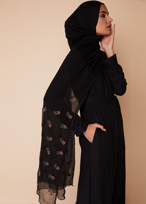 Cross Stitch Chiffon Silk in Black Hijab by Aab