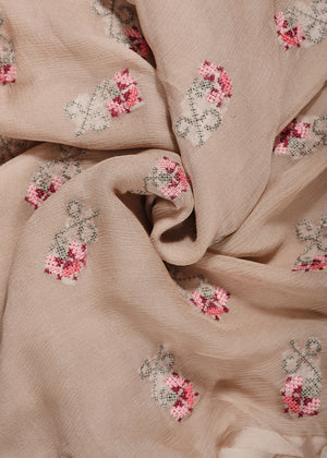 Cross Stitch Chiffon Silk Hijab in Sand by Aab