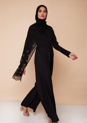 Fluid Fit Jumpsuit in Black by Aab