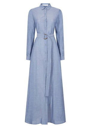 free Style Shirted Cotton Maxi Dress Aab
