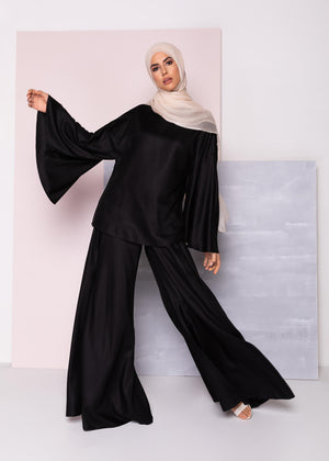 Full Flare Trousers Black