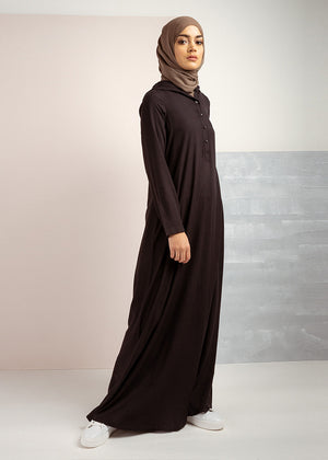 Hooded Abaya Black