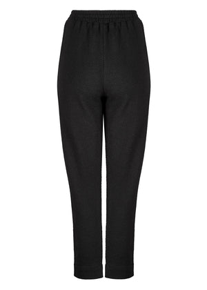 Textured Knit Button Trousers Black
