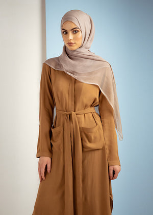 Lapel Shirt Dress Tan