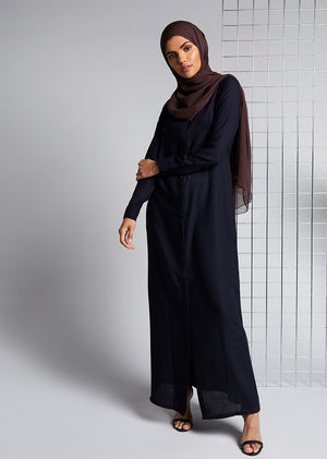 Navy Twill Shirted Abaya