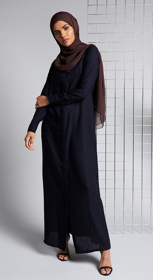 Navy Twill Shirted Abaya Aab