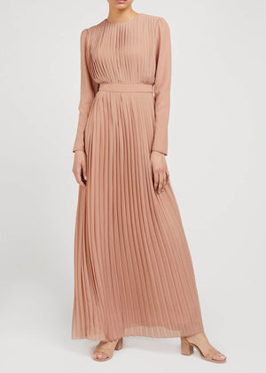 Nude Pleat Maxi Dress