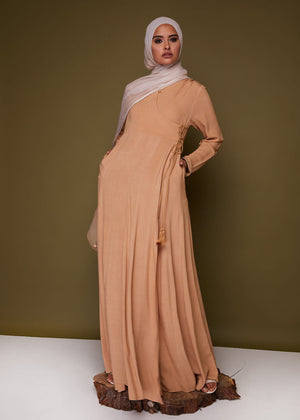 Patterned Leaf Abaya in Beige by Aab