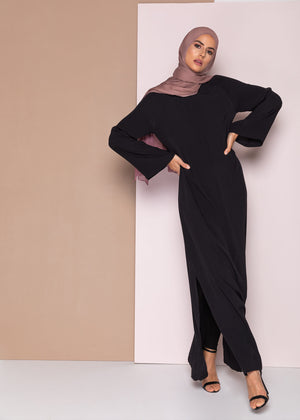 Pleated Neck Abaya Black Aab